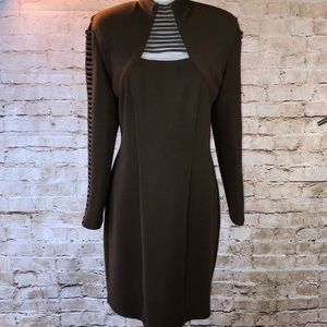 Cache brown ladder sleeve & neckline. Size 10